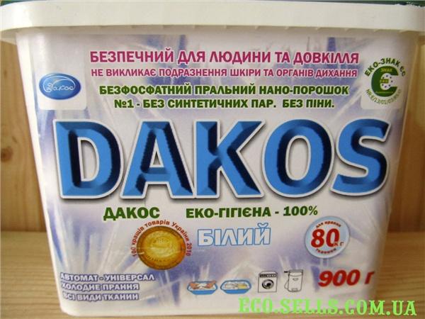Бесфосфатный стиральный порошок «Дакос» ЭКО-Гигиена 100% БЕЛЫЙ, 900 гр.