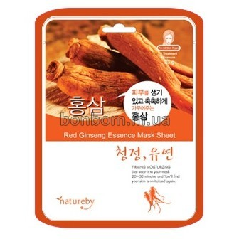 Тканевая маска с красным женьшенем Natureby Red Ginseng Essence Mask sheet