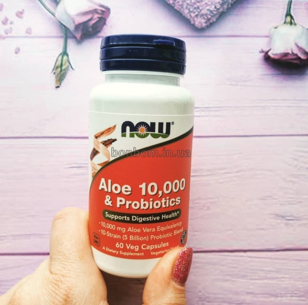 Алое + пробиотики Now Foods Aloe 10 000 & Probiotics