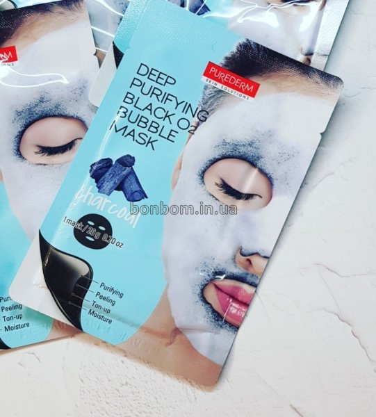 Кислородная маска Purederm Deep Purifying Black O2 Bubble Mask (charcoal)